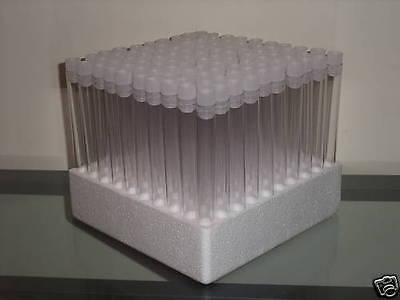 100x150x16mm Test tubes,tray & White stoppers Holds 20ml
