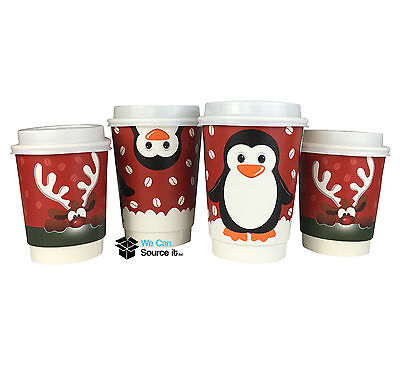 Christmas Paper Coffee Cups-2  Double Walled like ripples kraft coffee cups