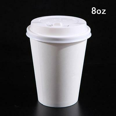 WHITE COFFEE/TEA CUPS & SIP LIDS Disposable Paper (8oz) Catering