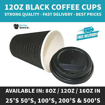 8/12/16oz (BLACK) Insulated Disposable Paper Coffee Cups Ripple Paper Cups