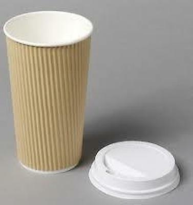 4/8/12/16oz Insulated Ripple Disposable Paper Coffee Brown Cups & White Lids
