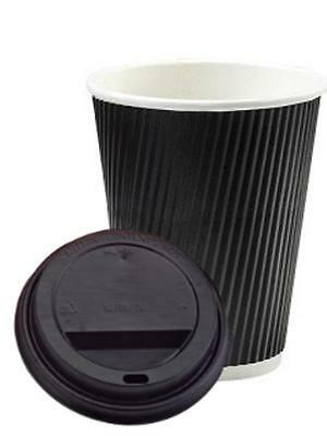 8/10/12/16oz Insulated Ripple Disposable Paper Coffee, Black Cups & Black Lids