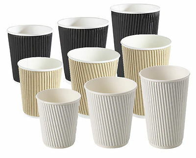 Insulated Ripple Disposable Paper Coffee Cups, Black White or Brown