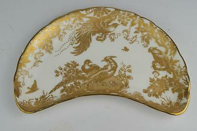 ROYAL CROWN DERBY 'GOLD AVES' CRESCENT PLATE / Salad Dish 1st Quality 2 Avail.