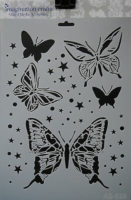 Imagination Crafts MASK Art Stencil A4 210 x 295mm BUTTERFLY SPARKLE