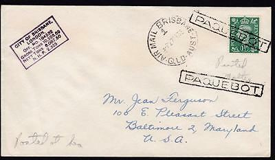 Paquebot 1933 Cover - To USA with UK stamp and Brisbane Air Mail Postmark