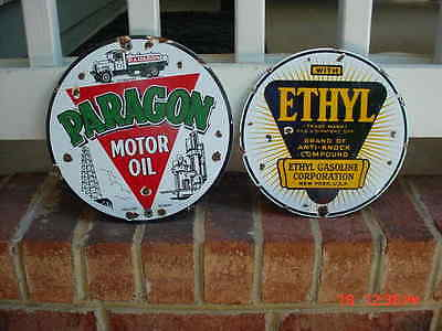 Paragon GASOLINE and Ethyl Gas PORCELAIN GAS SIGN PUMP PLATES PAIR