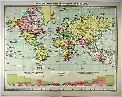 Original Map of The British Empire by G Philip & Son. c1906