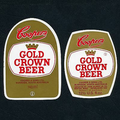 2 x Different Retro Coopers Gold Crown Beer Labels