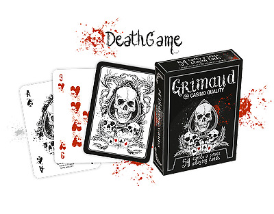 GRIMAUD DEATH GAME PLAYING CARDS Casino Quality 54 Poker Size Skull Design NEW