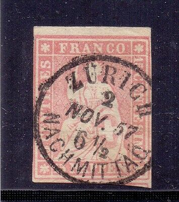 Switzerland - 15r pale rose. Used.1854. Helvetia sitting. SG49A
