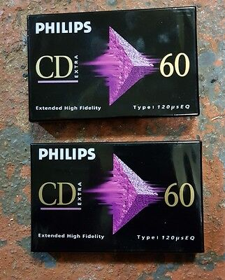 2x Blank Cassette Tape - Philips CD extra 60 - New & Sealed