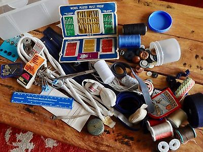 Sewing Box Craft Hobby Make Up Carrier And Vintage Haberdashery Items