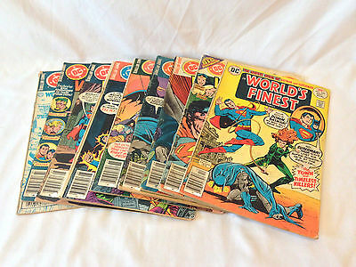 Lot of 9 DC Comics 1976-1981, World's Finest #s 242-271, G to VG low grade