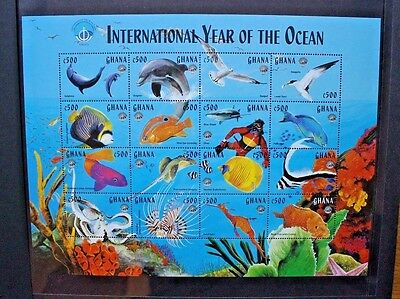 GHANA 1998 Year of the Ocean Fish Dolphins. SHEETLET OF 16. MNH. SG2740/2755.