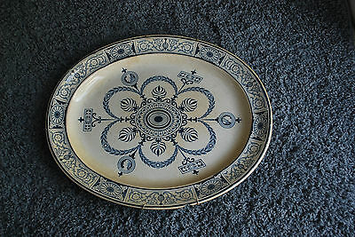 "Antique Rare Blue & White Heavy Ironstone Large 19"" Platter ""adams""  Very Old!"
