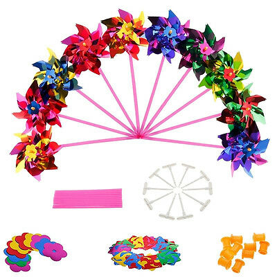 10Pcs Plastic Windmill Pinwheel Wind Spinner Kids Toy Lawn Garden Party Decor