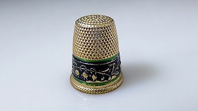 Vintage Thimble Black Green Enamel Border Gold Brass? Flower Design Sewing