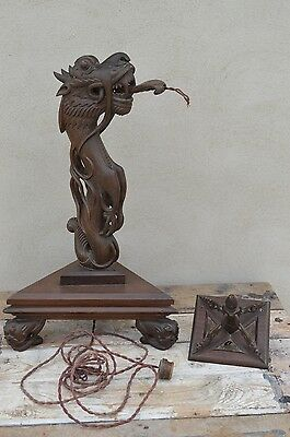Antique Vintage Carved Wooden Chinese Dragon Table Lamp Needs Re-wiring