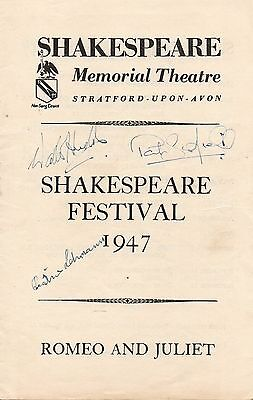 1947 Theatre Programme. Shakespeare Festival . Romeo and Juliet. Signed cover.