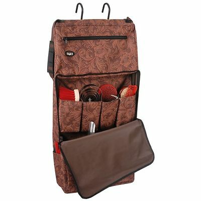 Tough-1 Print Portable Grooming Organizer Tooled Leather Print Brown