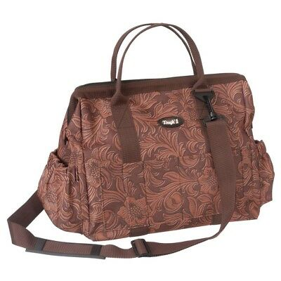 Tough-1 Show Case Groom Bag in Prints Tooled Leather Print Brown