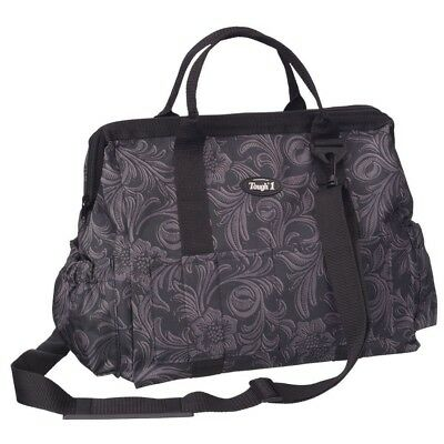 Tough-1 Show Case Horse Grooming Tote Bag in Prints Tooled Leather Print Black