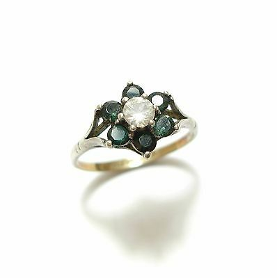 Beautiful Vintage Silver , 9Ct Gold & Bright Paste Stone Engagement Ring (A8)