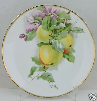 Antique Cake/cabinet Plate Apple,fruit,pink Flower,gold Rims,signed