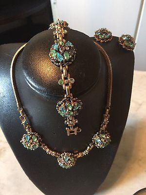 Vtg '50s BARCLAY Jewels of India pastel rhinestone crystal necklace earrings bra