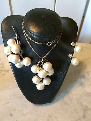 Vtg '50 MIRIAM HASKELL? glamour wedding bridal faux pearl beads necklace set
