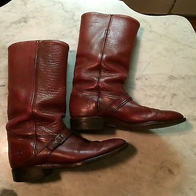 vtg '80 FRYE campus biker harness riding cowboy motorcycle mens boots sz 7.5D