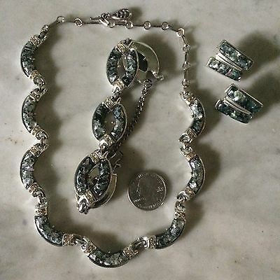 vtg '60 CORO themoplastic lucite glitter confetti earrings bracelet necklace set