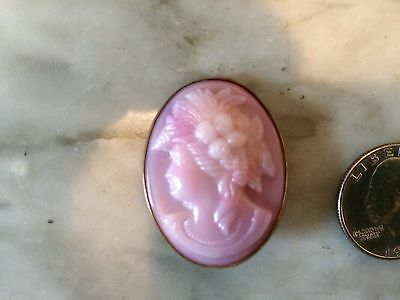 Vtg antique edwardian victorian faux cameo pink glass brass brooch