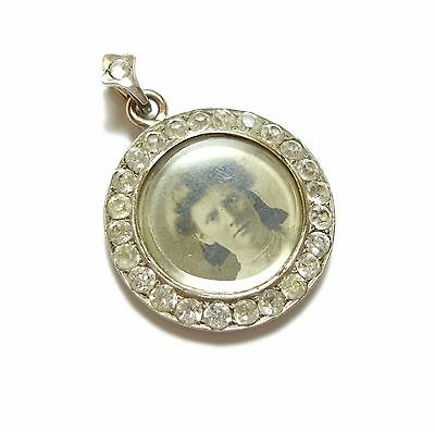 Beautiful Old Edwardian Rolled Gold & Silver Double Sided Locket Pendant (A10)
