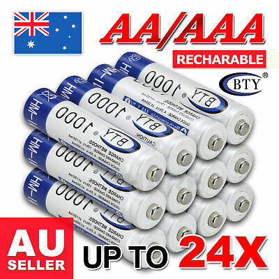 4-12X BTY AAA Rechargeable Battery Recharge Batteries 1.2V 1000mAh Ni-MH OZ
