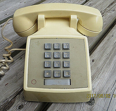 Vintage Western Electric Bell Push Button Desk Telephone Yellow