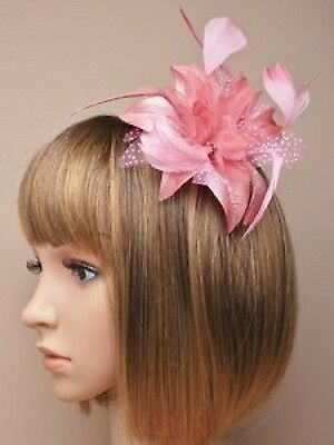 ELEGANT PINK  Wedding Flower and Feather fascinator ribbon wrap alice headband