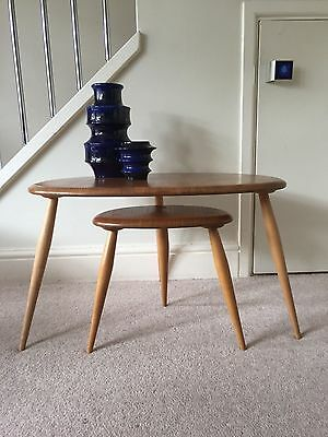 Stunning Vintage Ercol Pebble Nest Pair Coffee Table RESTORED Blonde