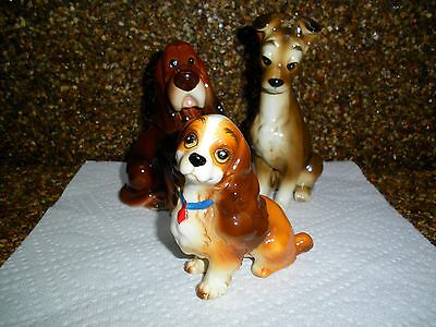3 Vintage LADY AND THE TRAMP Porcelain Dog Figurines Lady, Tramp & Trusty VGC