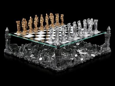Chess with Tin knights - Knight Medieval chess Set Pewter Glass Board