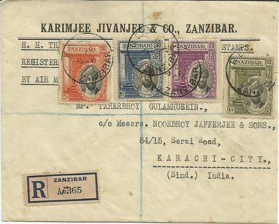 Zanzibar 1936 Regd Cover Silver Jubilee From Zanzibar To Karachi 19Th Dec 1936