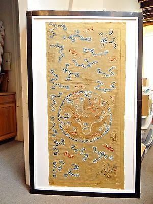 Early 19th C. Qing [Ching] Dynasty Chinese Silk Embroidered Imperial Panel