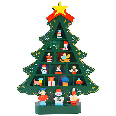 Battery Operated Green Wooden Tree Colour Changing LED