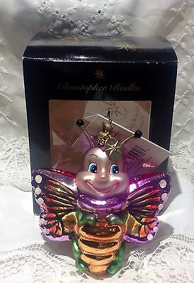 Christopher Radko Rare Retired Butter Bee Willikers Glass ornament butterfly