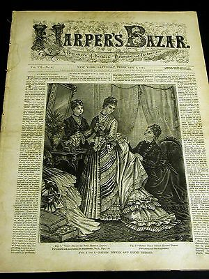 Harper's Bazar February 7 1874 with Rare PATTERN Supplement - Girls Boys Suits