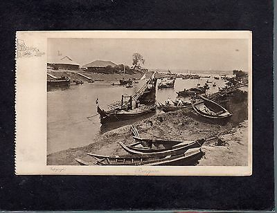 Boats on river Rangoon Burma Bibby Line view postcard