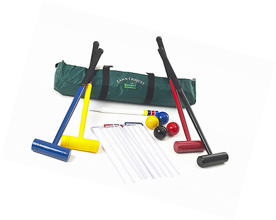Garden Games Lawn Croquet Set - Four Player with 77cm Long Mallets in a strong d