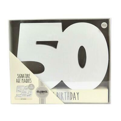 Age 50 Signature Block 50Th Birthday Wood Plaque Includes Pen New Gift