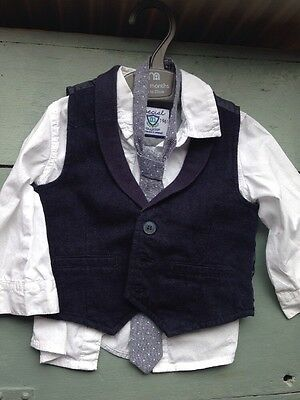 Mothercare Baby Age 9-12 Months Shirt, Waistcoat And Tie Suit Wedding Occasion